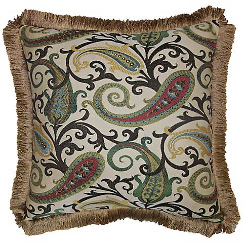 "Grand Estate Fringe Trim 22"" Square Decorative Pillow"
