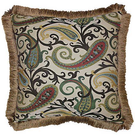 "Grand Estate Fringe Trim 22"" Square Decorative Pillow"