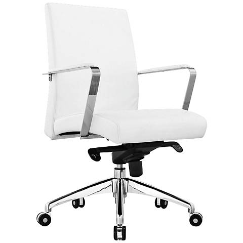 Clemson White Faux Leather Low Back Office Chair