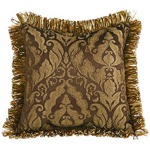 "Fantasia Brocade Ribbon 20"" Square Decorative Pillow"