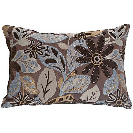 """Andes Chenille Blue 14"""" x 20"""" Decorative Lumbar Pillow"""