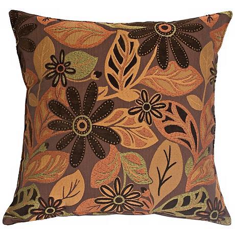 """Andes Chenille Orange 20"""" Square Decorative Pillow"""