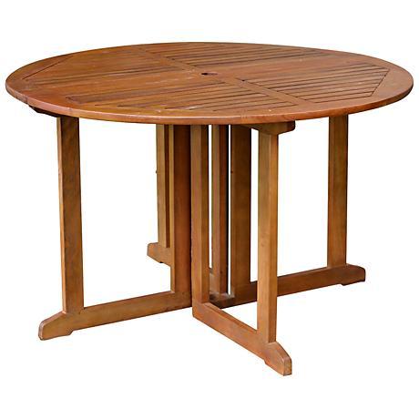 Benton Natural Eucalyptus Outdoor Folding Dining Table