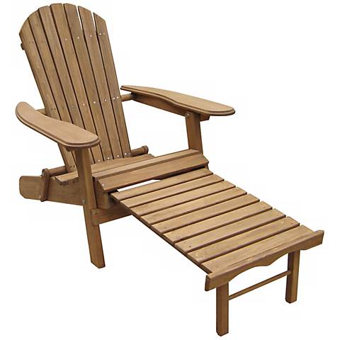 Placentia Natural Outdoor Adirondack Chair with Ottoman