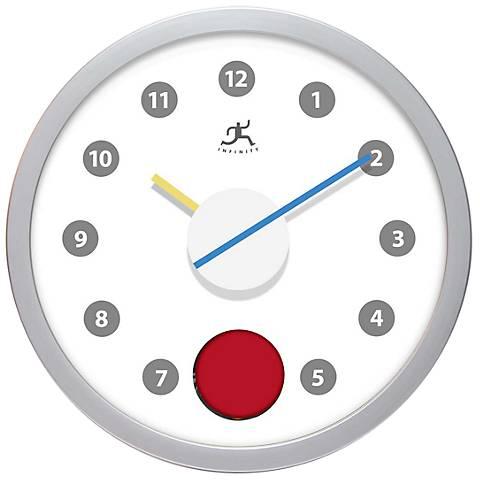 "Red Dot Pendulum Modern 12"" Round Wall Clock"