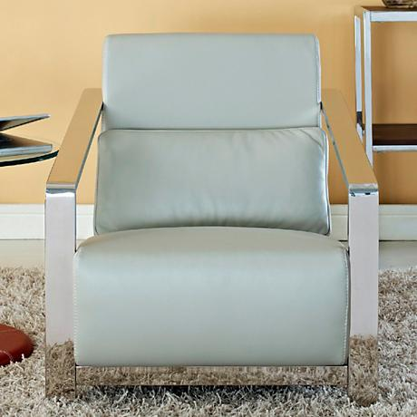 Erika Stainless Steel and Gray Leather Armchair