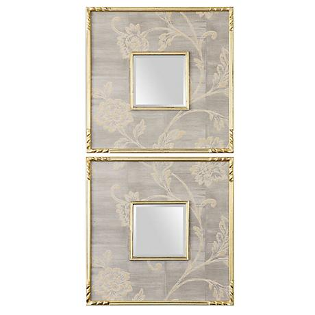 """Uttermost Evelyn 20"""" Square Wall Mirrors Set of 2"""
