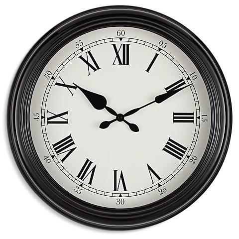 "Eldridge Glossy Black 18"" Round Wall Clock"