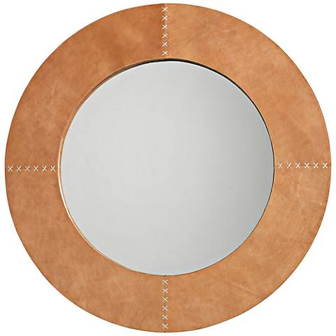 "Jamie Young Cross Stitch 36"" Round Brown Hide Wall Mirror"