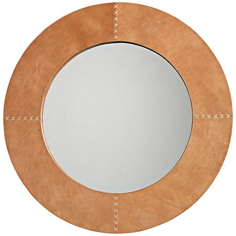 """Jamie Young Cross Stitch 36"""" Round Brown Hide Wall Mirror"""
