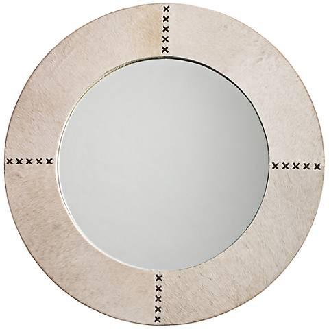 "Jamie Young Cross Stitch 36"" Round White Hide Wall Mirror"