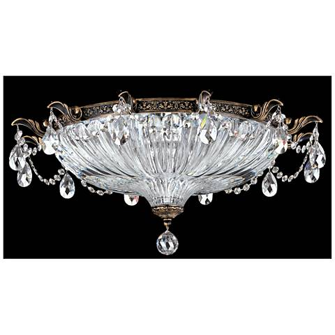 """Milano 22 1/2"""" Wide Crystal Ceiling Light in Midnight Gild"""