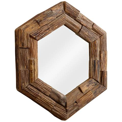 "Frontier 32"" Round Large Hexagon Wall Mirror"