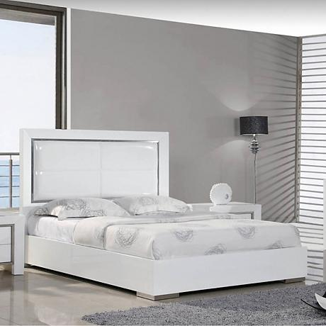 Ibiza High Gloss White Leather Bed with Stainless Stripe