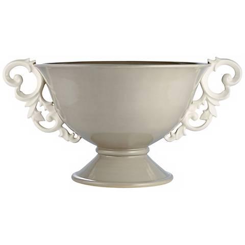 Scroll Swedish Gray Handled Pedestal Bowl