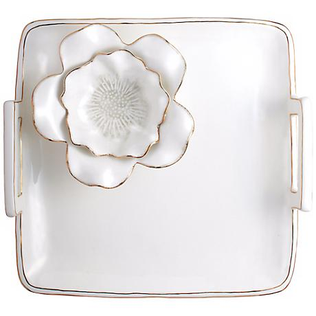 Cream Gloss Ceramic Chip and Dip Square Serving Tray