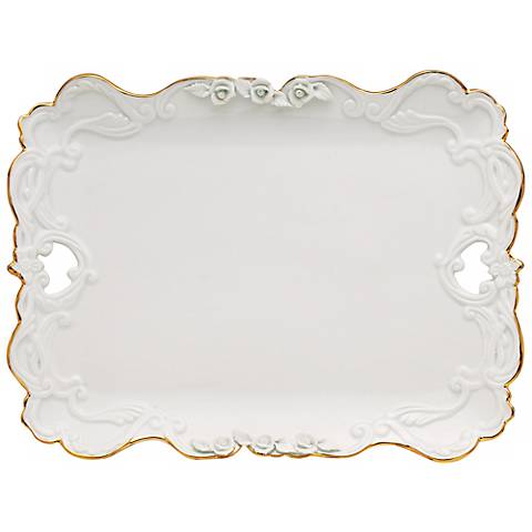 Marie Antoinette White Porcelain Gold Trim Small Platter