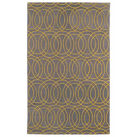 Kaleen Revolution REV02-28 Gray and Yellow Wool Area rug