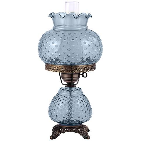 """Hobnail 19""""H Hand-Blown Blue Glass Accent Table Lamp"""