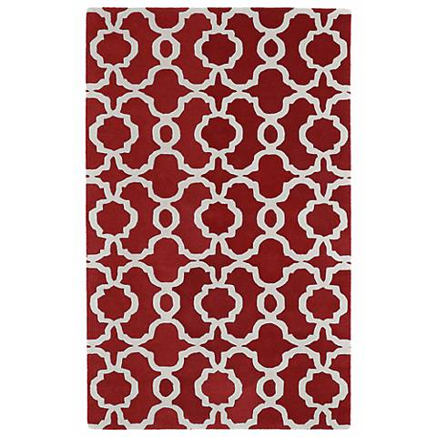 Kaleen Revolution REV03-25 Red Wool Area Rug