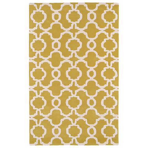 Kaleen Revolution REV03-28 Yellow Wool Area Rug
