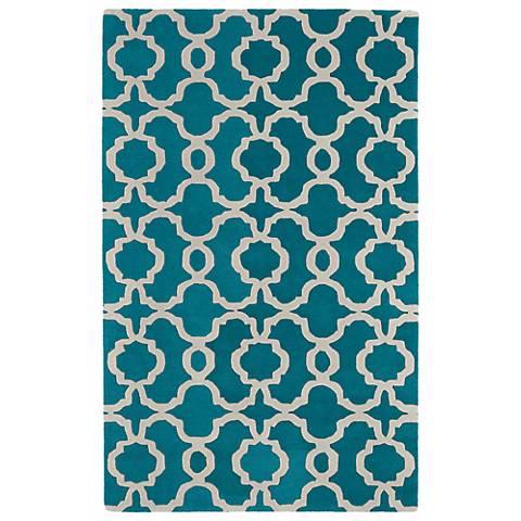 Kaleen Revolution REV03-91 Teal Wool Area Rug