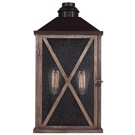 """Feiss Lumiere 19"""" High Weathered Oak Outdoor Wall Light"""