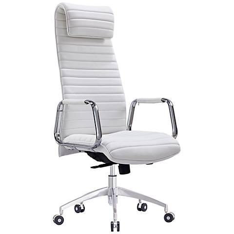 Oxford Executive White Faux Leather Office Chair