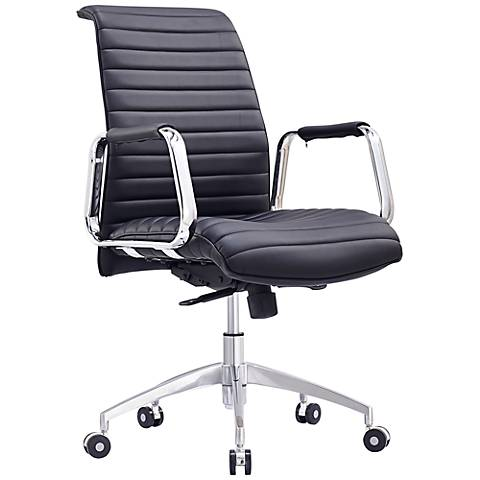 Oxford Low Back Black Faux Leather Office Chair