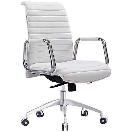 Oxford Low Back White Faux Leather Office Chair