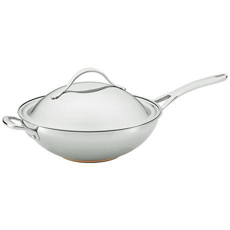 "Anolon Nouvelle Copper Steel 12"" Covered Stir Fry Pan"