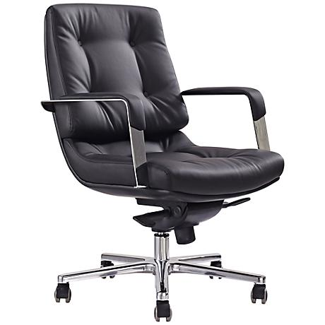 Princeton Low Back Black Faux Leather Office Chair