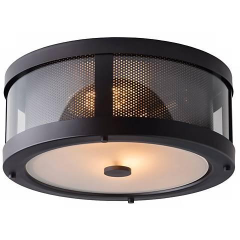 """Feiss Bluffton 13 1/4"""" Wide Bronze Ceiling Light"""