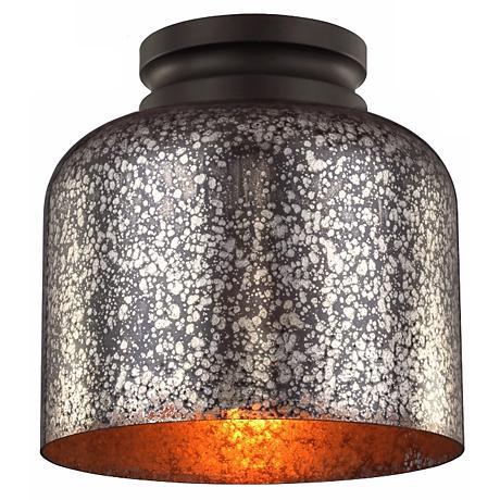 "Feiss Hounslow 9"" High Bronze and Glass Ceiling Light"