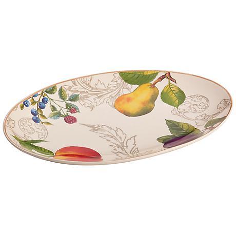 "BonJour Orchard Harvest 9""x13 1/2"" Stoneware Platter"