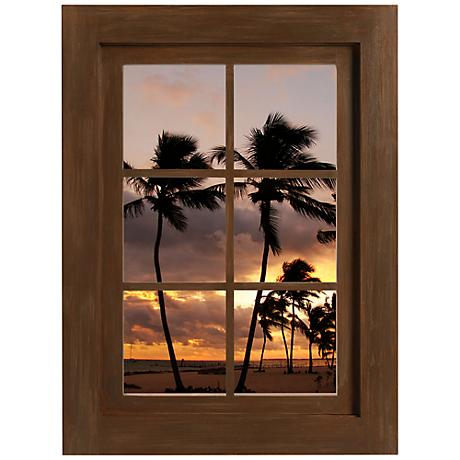 Tropical Sunset Window Wall Decal