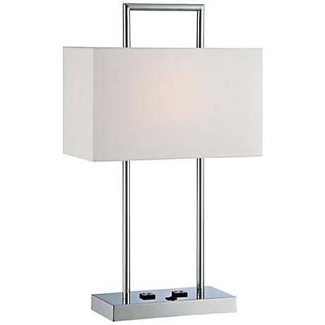 lite source jaymes chrome desk lamp with outlets 5p499 lamps plus. Black Bedroom Furniture Sets. Home Design Ideas