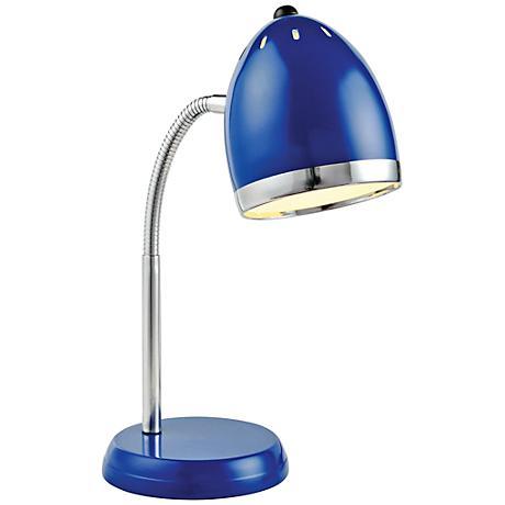 Lite Source Zachary Blue and Chrome Gooseneck Desk Lamp