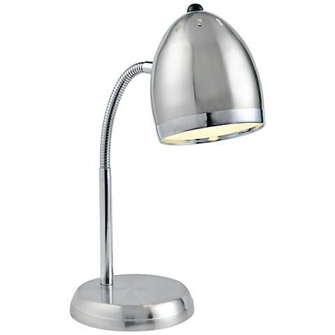 Lite Source Zachary Silver and Chrome Gooseneck Desk Lamp