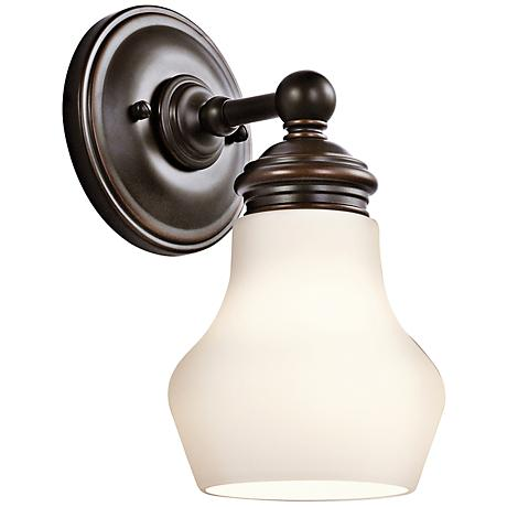 currituck 9 3 4 high rubbed bronze wall sconce 5p673 lamps plus. Black Bedroom Furniture Sets. Home Design Ideas