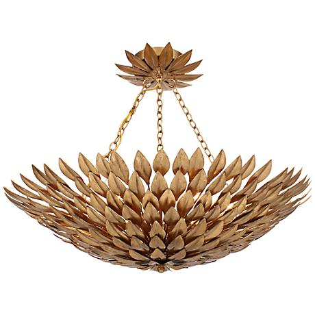 """Crystorama Broche 24"""" Wide Antique Gold Ceiling Light"""