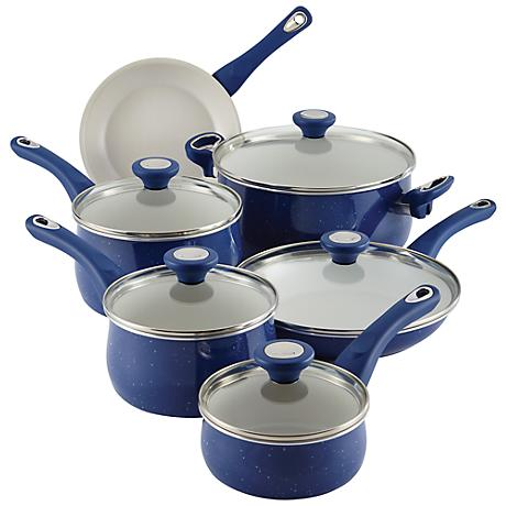 Farberware New Traditions 14-Piece Blue Cookware Set