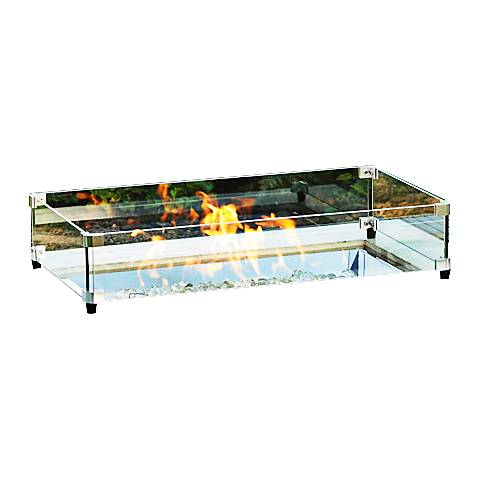 "Crystal Fire Burner 12"" x 24"" Glass Guard Fencing"