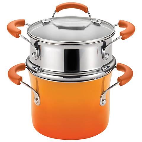 Rachael Ray Orange Enamel Nonstick 3-Quart Steamer Set