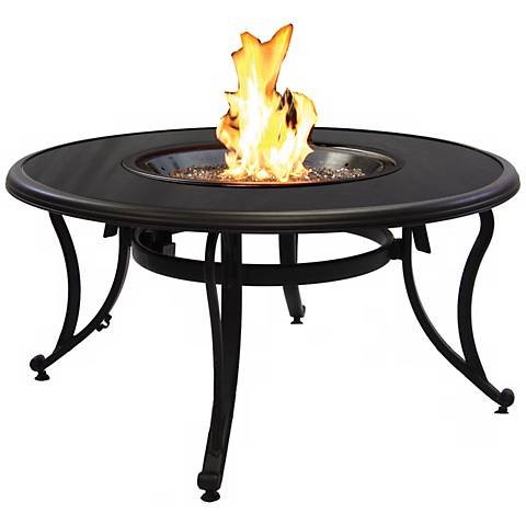 """Terrabella 42"""" Round Black Glass Crystal Outdoor Fire Pit"""