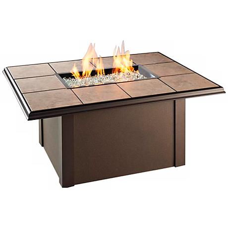 """Napa Valley 48"""" Wide Drop-In Tile Outdoor Firepit Table"""