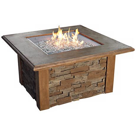 "Sierra Faux Stone 20"" Wide Rectangular Outdoor Fire Table"