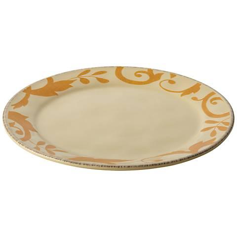 "Rachael Ray Dinnerware Gold Scroll 12 1/2"" Cream Platter"