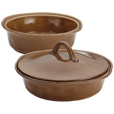 Rachael Ray Cucina Stoneware 3-Piece Brown Baker And Lid Set
