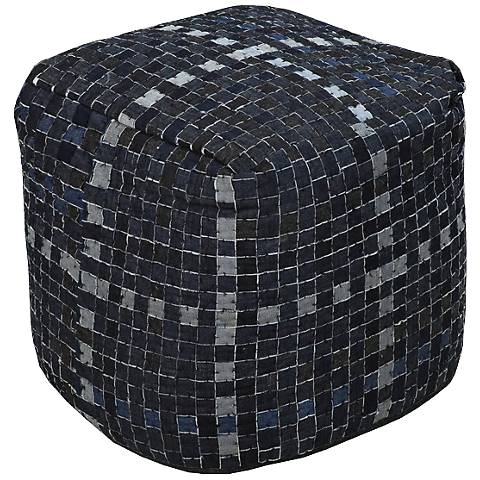 "Surya Ombre Blue Navy Gray 18"" Square Pouf Ottoman"